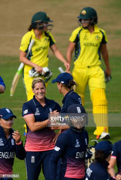 England bowler Jenny Gunn celebrates with Kathryn Brunt as the Australian batsmen leave the field after the ICC Women's World Cup 2017 match between...