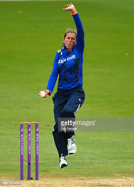 England bowler Jenny Gunn in action during the 3rd Royal London ODI of the Women's Ashes Series between England and Australia Women at New Road on...
