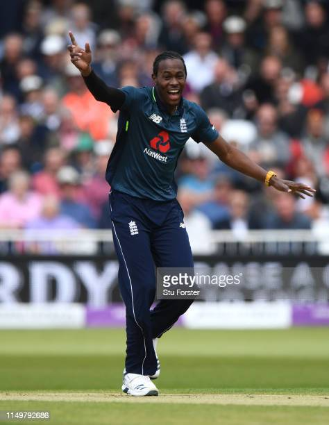 England bowler Jofra Archer appeals during the 4TH One Day International between England and Pakistan at Trent Bridge on May 17, 2019 in Nottingham,...