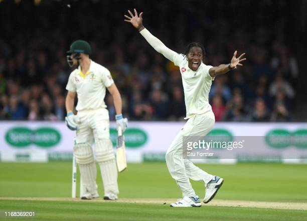 England bowler Jofra Archer appeals with success for the wicket of Cameron Bancroft and his first test wicket during the third day of the 2nd Test...