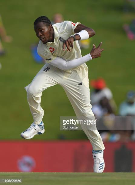 England bowler Jofra Archer bowls during Day Two of the First Test match between England and South Africa at SuperSport Park on December 27, 2019 in...