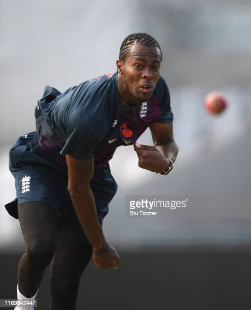 England bowler Jofra Archer bowls in the nets during England nets ahead of the 3rd Test match at Headingley on August 21, 2019 in Leeds, England.