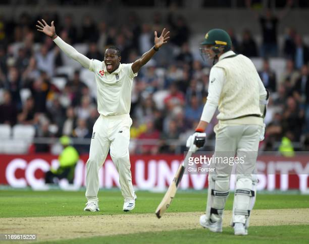 England bowler Jofra Archer celebrates after dismissing Nathan Lyon during day one of the 3rd Ashes Test match between England and Australia at...