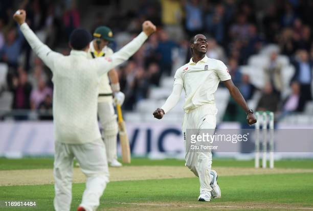 England bowler Jofra Archer celebrates after dismissing Pat Cummins to claim his first 5 wicket haul during day one of the 3rd Ashes Test match...