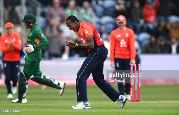 England bowler Jofra Archer celebrates after running out Babar Azam during the Twenty20 International match between England and Pakistan at Sophia...