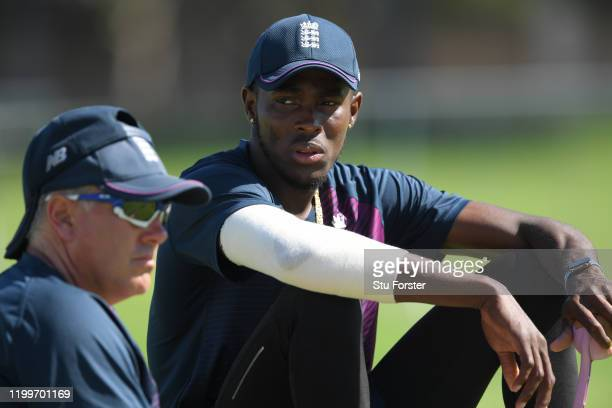 England bowler Jofra Archer chats with coach Chris Silverwood during England nets ahead of the 3rd Test Match against South Africa at St George's...