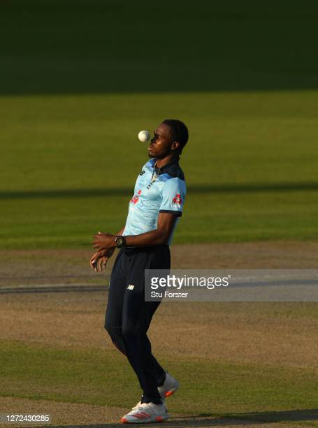 England bowler Jofra Archer gets an eye full of the ball during the 2nd Royal London One Day International Series match between England and Australia...