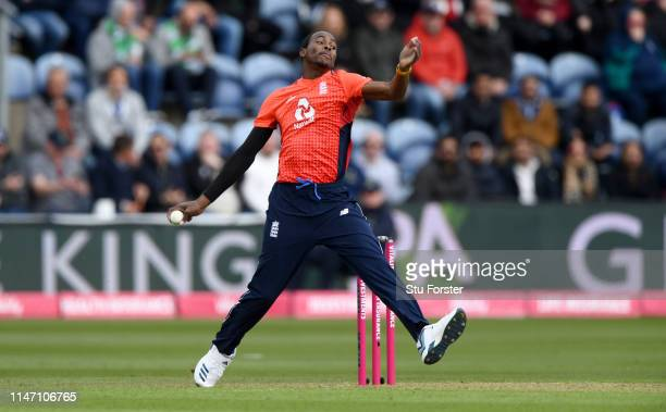 England bowler Jofra Archer in action during the Twenty20 International match between England and Pakistan at Sophia Gardens on May 05 2019 in...