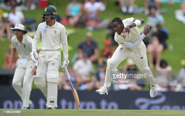 England bowler Jofra Archer in bowling action during Day Three of the First Test match between England and South Africa at SuperSport Park on...
