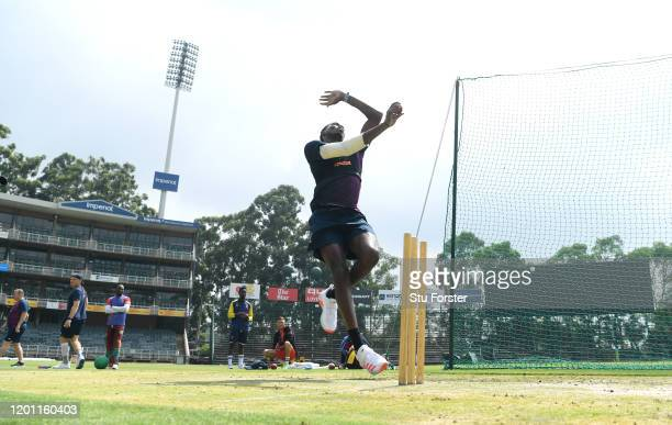 England bowler Jofra Archer in bowling action during England nets at The Wanderers ahead of the 4th and final Test Match on January 22, 2020 in...