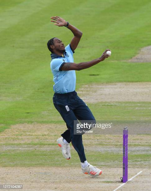 England bowler Jofra Archer in bowling action during the 1st Royal London One Day International Series match between England and Australia at...