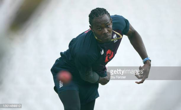 England bowler Jofra Archer in bowling action in the nets during England training ahead of the 4th and Final Test Match at The Wanderers on January...
