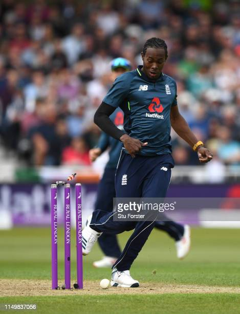 England bowler Jofra Archer kicks the ball onto the stumps but just fails to run the batsman out during the 4TH One Day International between England...