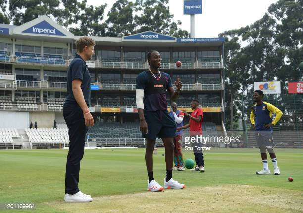 England bowler Jofra Archer prepares to bowl as captain Joe Root looks on during England nets at The Wanderers ahead of the 4th and final Test Match...