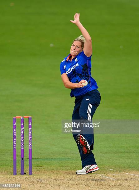 England bowler Katherine Brunt in action during the 3rd Royal London ODI of the Women's Ashes Series between England and Australia Women at New Road...