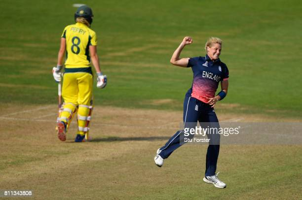 England bowler Kathryn Brunt celebrates after bowling Alex Blackwell during the ICC Women's World Cup 2017 match between England and Australia at The...