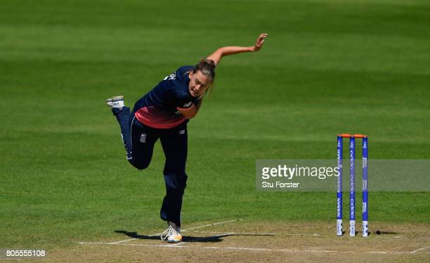 England bowler Laura Marsh in action during the ICC Women's World Cup 2017 match between England and Sri Lanka at The Cooper Associates County Ground...