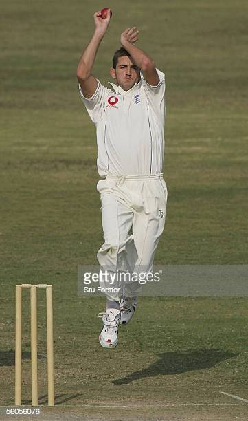 England bowler Liam Plunkett bowls during the third and final day of the three day game between England and a Pakistan Patrons side at the Rawalpindi...
