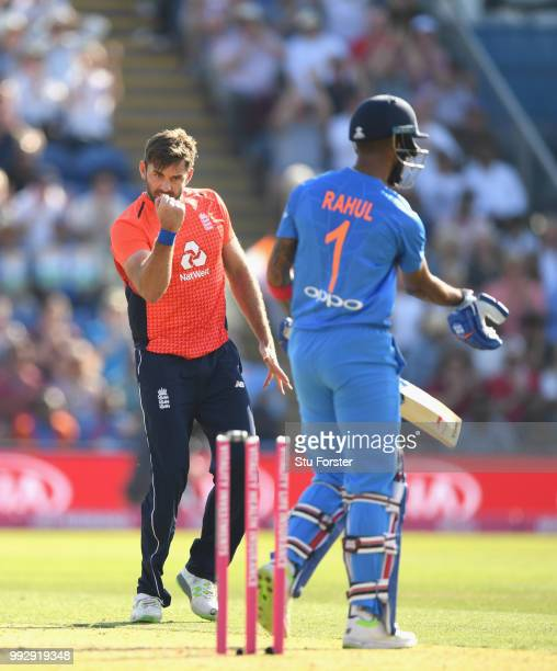 England bowler Liam Plunkett celebrates after bowling India batsman KL Rahul during the 2nd Vitality T20 International between England and India at...
