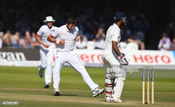 England bowler Liam Plunkett celebrates after dismissing India batsman Cheteshwar Pujara during day three of 2nd Investec Test match between England...