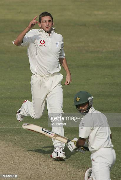 England bowler Liam Plunkett celebrates after taking the wicket of Asher Zaidi during the third and final day of the three day game between England...