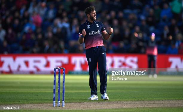 England bowler Liam Plunkett celebrates after taking the wicket of Adam Milne during the ICC Champions Trophy match between England and New Zealand...
