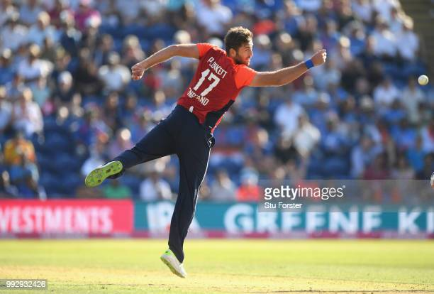 England bowler Liam Plunkett fields off his own bowling during the 2nd Vitality T20 International between England and India at Sophia Gardens on July...