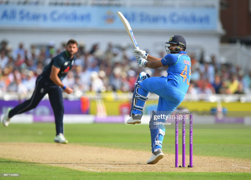 England bowler Liam Plunkett is pulled to the boundary by India batsman Rohit Sharma during the 1st Royal London One Day International match between England and India at Trent Bridge on July 12, 2018 in Nottingham, England.