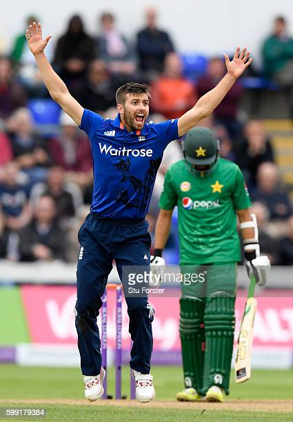 England bowler Mark Wood appelas with success after review for the wicket of Azhar Ali during the 5th One Day International between England and...