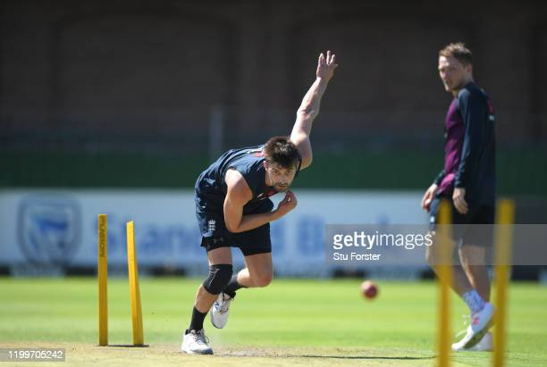 England bowler Mark Wood bowls out in the middle during England nets ahead of the 3rd Test Match against South Africa at St George's Park on January...