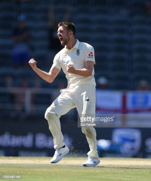 England bowler Mark Wood celebrates after dismissing Rassie van der Dussen during Day Four of the Fourth Test between South Africa and England at...