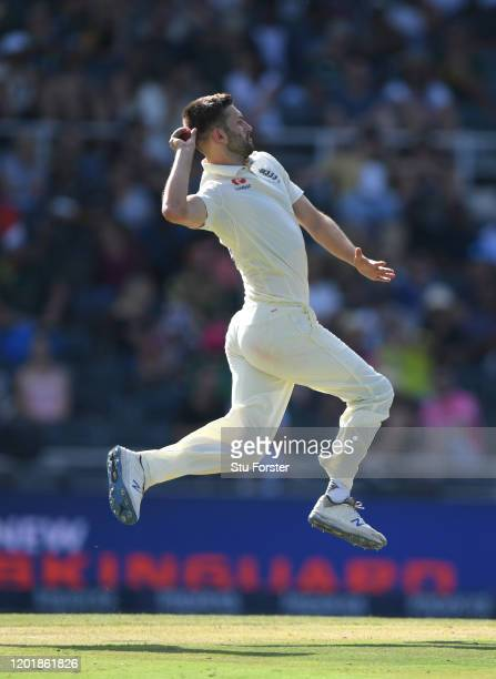 England bowler Mark Wood in action during Day Two of the Fourth Test between South Africa and England at Wanderers on January 25, 2020 in...