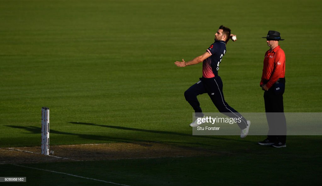 England bowler Mark Wood in action during the 3rd ODI between New Zealand and England at Westpac stadium on March 3, 2018 in Wellington, New Zealand.