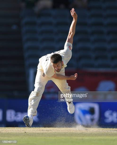 England bowler Mark Wood in bowling action during Day Four of the Fourth Test between South Africa and England at Wanderers on January 27 2020 in...