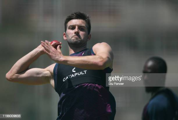 England bowler Mark Wood in bowling action during England nets at St George's Park ahead of the 3rd Test match on January 12, 2020 in Port Elizabeth,...