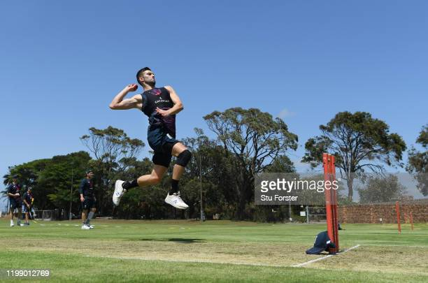 England bowler Mark Wood in bowling action during England nets at St George's Park on January 12, 2020 in Port Elizabeth, South Africa.