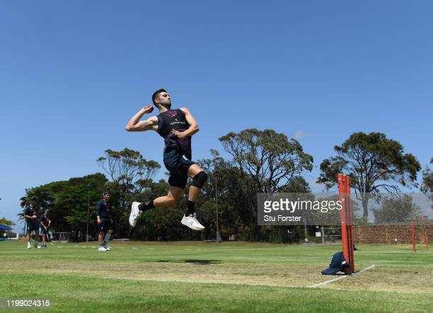 England bowler Mark Wood in bowling action during England nets at St George's Park on January 12 2020 in Port Elizabeth South Africa