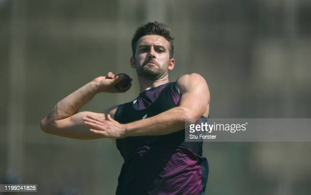 England bowler Mark Wood in bowling action during England nets at St George's Park on January 13 2020 in Port Elizabeth South Africa