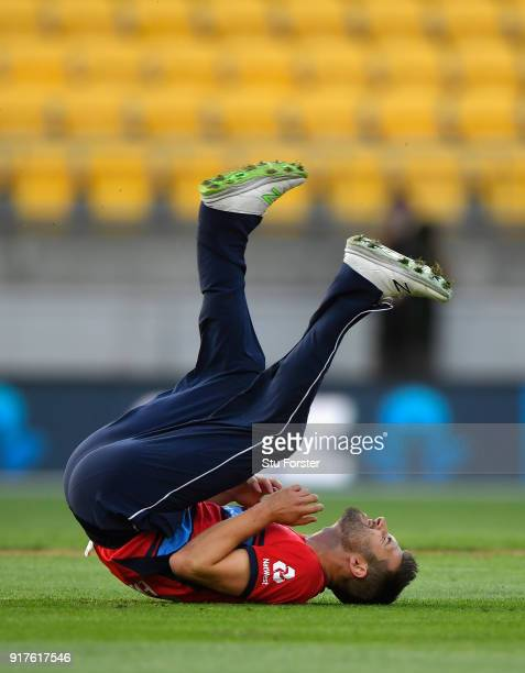 England bowler Mark Wood reacts after missing a run out chance to dismiss Kane Williamson during the International Twenty20 match between New Zealand...