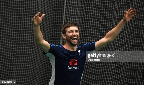 England bowler Mark Wood reacts during a game of Football during nets at the Swalec Stadium ahead of the ICC Champions Trophy match between England...