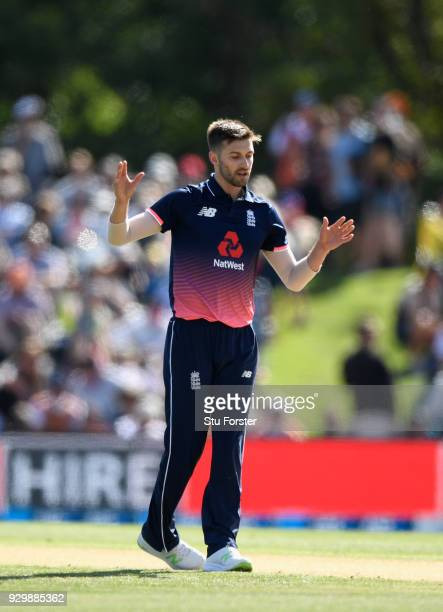 England bowler Mark Wood reacts during the 5th ODI between New Zealand and England at Hagley Oval on March 10 2018 in Christchurch New Zealand