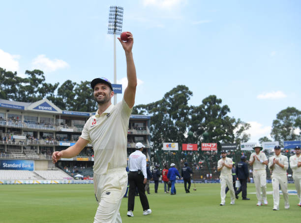 England bowler Mark Wood waves the ball after taking 5 first innings wickets during Day Three of the Fourth Test between South Africa and England at...