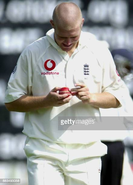 England bowler Mathew Hoggard cleans the ball during his bowling spell on the second day of their three day match against the Board President's XI at...