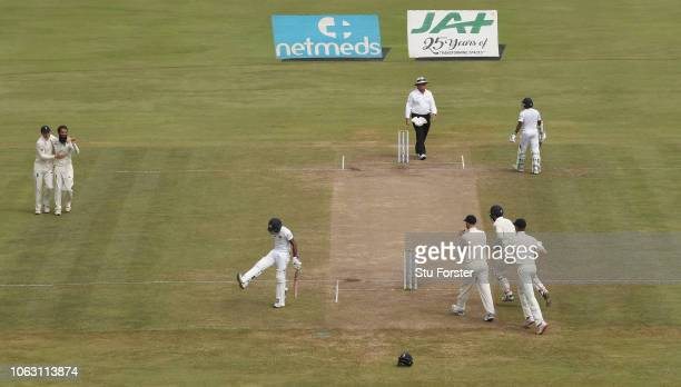 England bowler Moeen Ali has Sri Lanka batsman Niroshan Dickwella caught at slip by Ben Stokes during Day Five of the Second Test match between Sri...