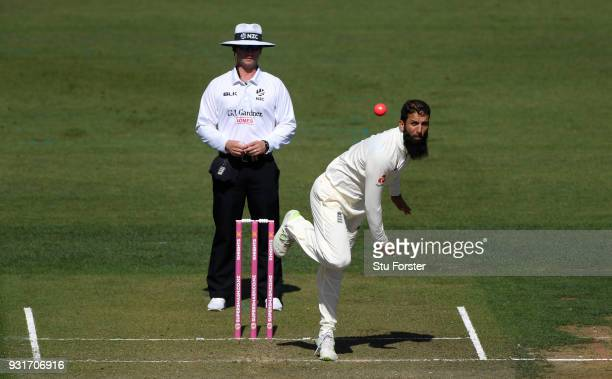 England bowler Moeen Ali in action during day one of the Test warm up match between England and New Zealand Cricket XI at Seddon Park on March 12...