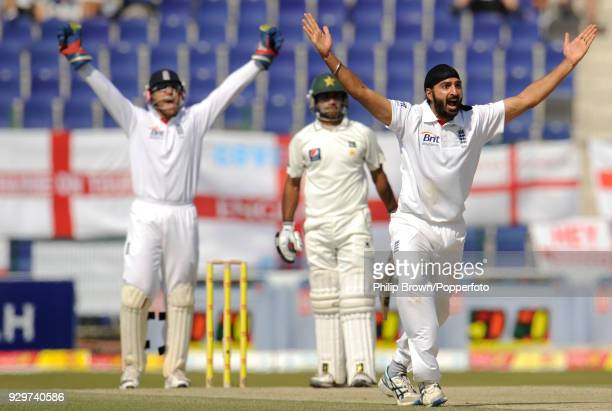 England bowler Monty Panesar appeals successfully for the wicket of Pakistan batsman Mohammad Hafeez during the 2nd Test match between Pakistan and...