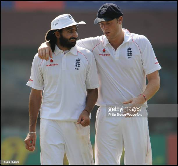 England bowler Monty Panesar gets a word of encouragement from Andrew Flintoff during the 1st Test match between India and England at MA Chidambaram...