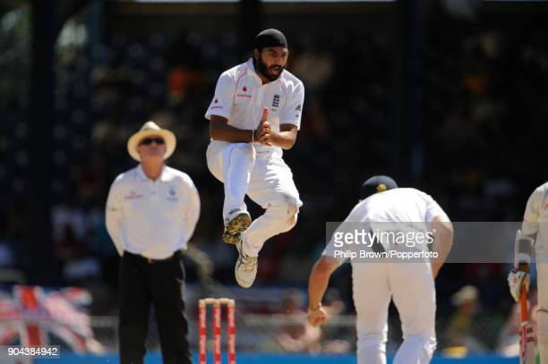 England bowler Monty Panesar reacts as a catch is put down by England captain Andrew Strauss during the 5th Test match between West Indies and...