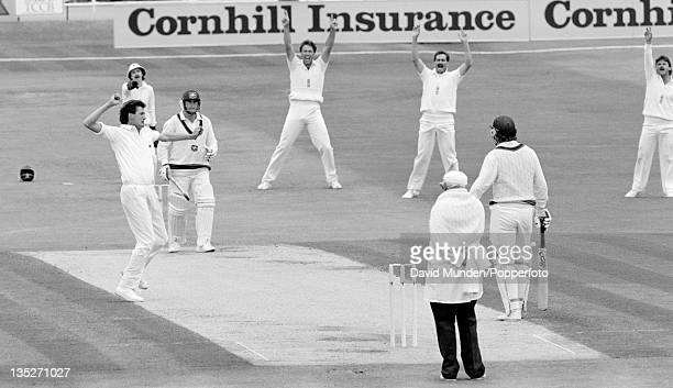 England bowler Neil Foster celebrates as umpire David Shepherd gives Australian batsman Mark Taylor out LBW during the 1st Test match at Headingley...