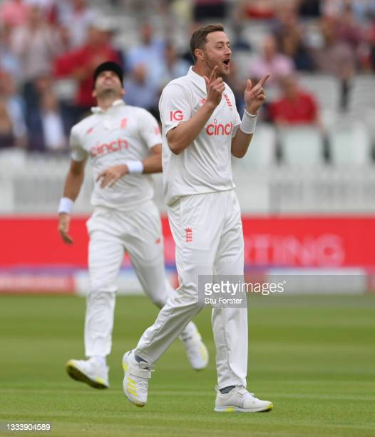England bowler Ollie Robinson celebrates after taking the wicket of India batsman KL Rahul on Ruth Strauss Foundation Day during day two of the...